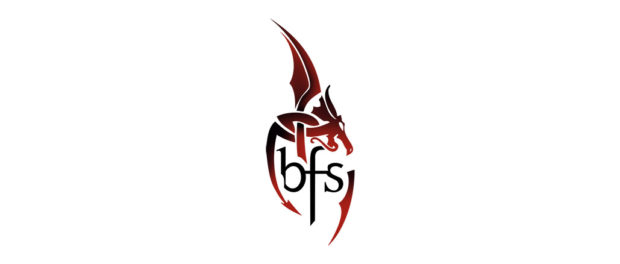 "The logo for the British Fantasy Society, which consists of the letters ""BFS"" surrounded by a stylised dragon"