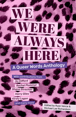 A copy of We Were Always Here. The cover is in pink leopard print.
